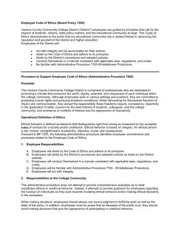 Employee Code of Ethics (Board Policy 7205 ... - Ventura College