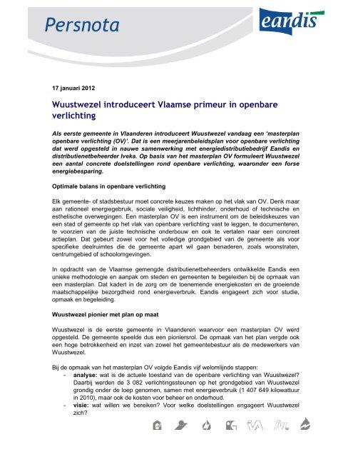 Wuustwezel introduceert Vlaamse primeur in openbare ... - Eandis
