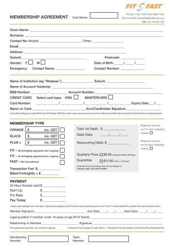 Membership Agreement Floyd Fitness