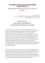 innsbrucker gespräche über ästhetik 2011 - Leander Kaiser