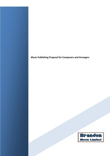 Music Publishing Proposal for Composers and Arrangers