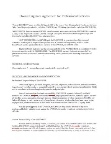 Owner/Engineer Agreement for Professional Services - Niagara ...