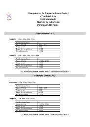 Championnat de France de France Cadets «Trophée L.C.L» Institut ...