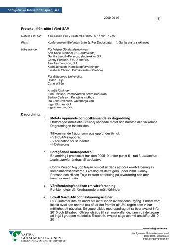 Protokoll från möte i Vård-SAM Dagordning - Sahlgrenska ...