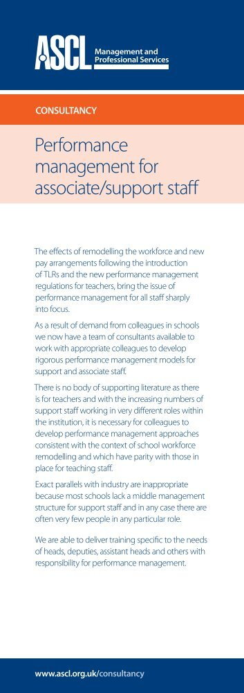 Performance management for associate/support staff