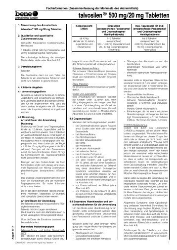 talvosilen® 500 mg/20 mg Tabletten - bene-Arzneimittel
