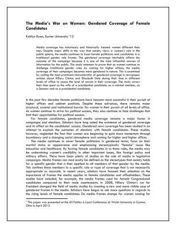 Gendered Coverage of Female Candidates - Xavier University