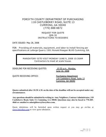forsyth county department of purchasing 118 castleberry road, suite ...