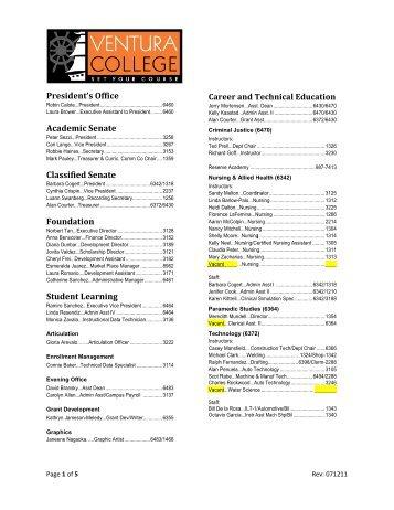 Presid Academ Classifi Founda Studen ent's Offic ... - Ventura College