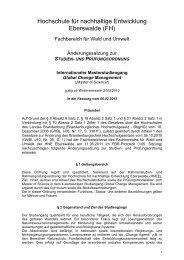 Studien- und Prüfungsordnung - Hochschule für nachhaltige ...