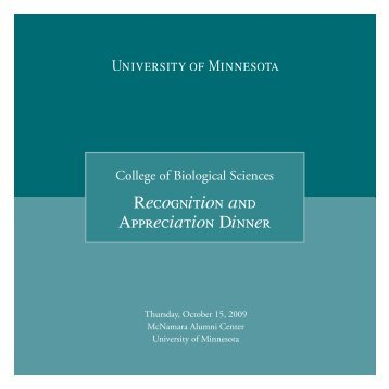 Recognition and Appreciation Dinner - University of Minnesota