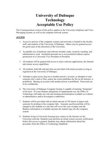 University of Dubuque Technology Acceptable Use Policy