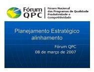 Planejamento Estratégico alinhamento - Movimento Brasil Competitivo