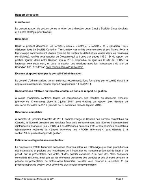 Rapport de gestion Introduction Le présent rapport de gestion ...