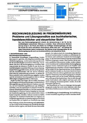 RECHNUNGSLEGUNG IN FREMDWÄHRUNG Probleme ... - Schweiz