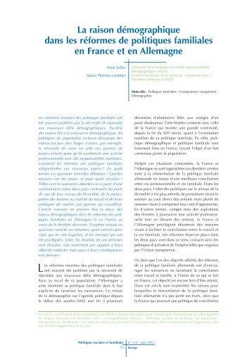 La raison démographique dans les réformes de politiques ... - Caf.fr