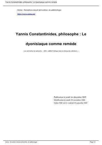 Yannis Constantinides, philosophe : Le dyonisiaque comme ... - Irema