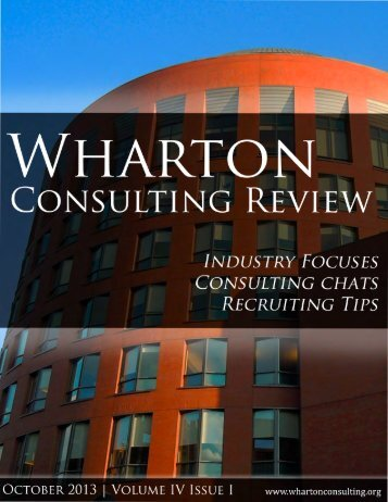 October 2013 - The Wharton Undergraduate Consulting Club.