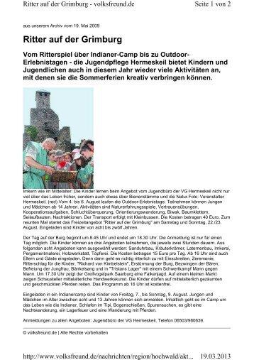 Ritter auf der Grimburg - Burg Grimburg