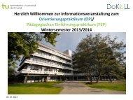 Infoveranstaltung OP-PEP WS2013-14 - DoKoLL - TU Dortmund