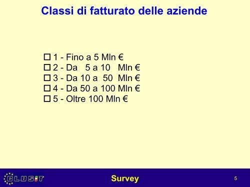 Presentazione dei risultati di una survey - Clusit