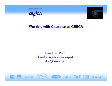 Working with Gaussian at CESCA