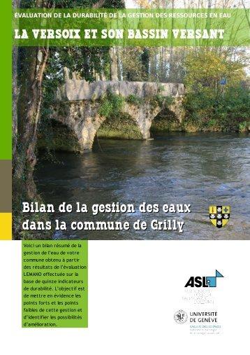 Bilan de la gestion des eaux dans la commune de Grilly