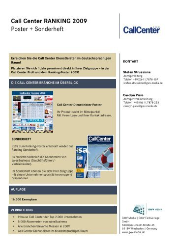 Call Center RANKING 2009 Poster + Sonderheft - Callcenter-Profi