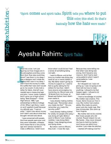 Ayesha Rahim: Spirit Talks - Philadelphia Folklore Project