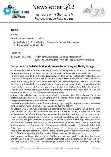 Newsletter 3/13 - Ingenieure Ohne Grenzen eV