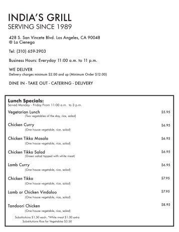 Lamb - Seafood - Tofu - Paneer