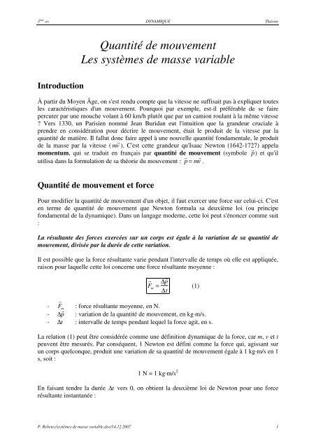 Quantité de mouvement Les systèmes de masse variable