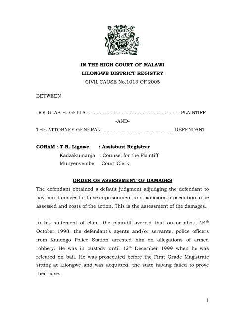 IN THE HIGH COURT OF MALAWI LILONGWE     - MalawiLII