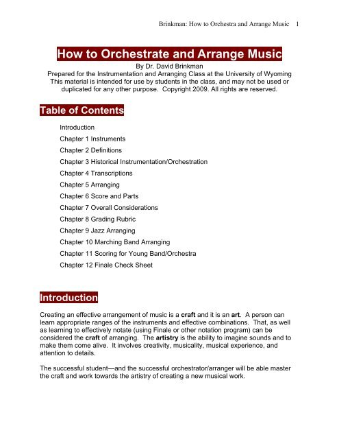 How to Orchestrate and Arrange Music pdf - MakeMusic Forum