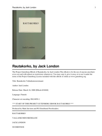 Rautakorko, by Jack London - The Path to Light