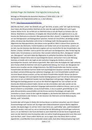 Gottlob Frege: Der Gedanke. Eine logische Untersuchung