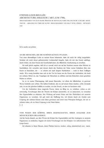etienne-louis boullée: architecture; essai sur l'art ... - Architekturtheorie