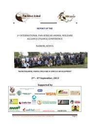 1st INTERNATIONAL PAN AFRICAN ANIMAL WELFARE ALLIANCE ...