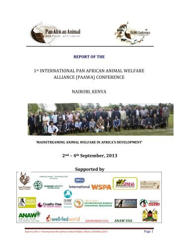 1st INTERNATIONAL PAN AFRICAN ANIMAL WELFARE ALLIANCE ...