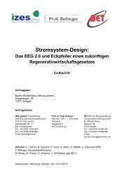 Stromsystem-Design: - Volkswirtschaftliches Institut - Universität ...