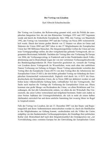 Der Vertrag von Lissabon Karl Albrecht Schachtschneider Der ...