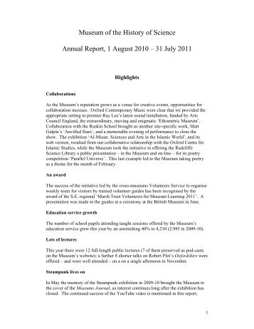 Museum of the History of Science Annual Report, 1 August 2010 ...