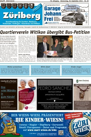 Quartierverein Witikon übergibt Bus-Petition - Lokalinfo AG