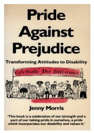 Jenny Morris is a disabled feminist and freelance writer - Centre for ...