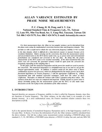 allan variance estimated by phase noise measurements - PTTI