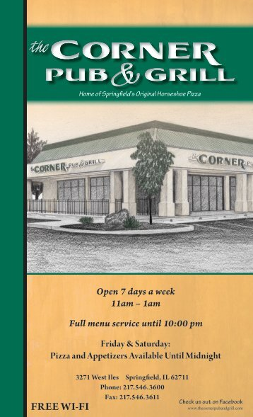 Open 7 days a week 11am - The Corner Pub and Grill