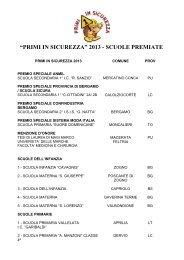 I PREMIATI PRIMI IN SICUREZZA 2013 - L'Eco di Bergamo