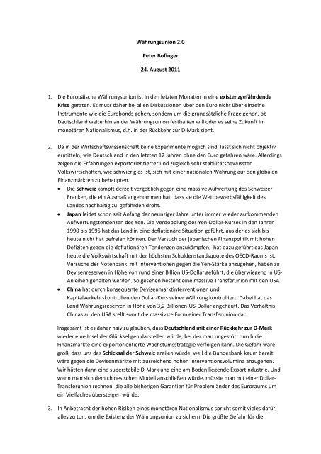 Währungsunion 2.0 Peter Bofinger 24. August 2011 1. Die ...