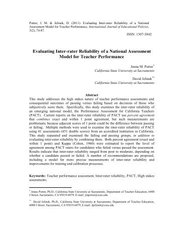 Evaluating Inter-rater Reliability of a National Assessment Model for ...
