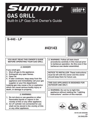 GAS GRILL - Help - Weber